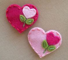 Sweet Heart Magenta or Baby Pink Wool Felt by BerryCoolDesigns