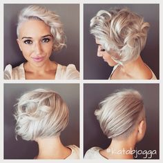 Silver short hair with undercut and curls, amazing