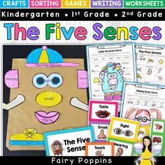 These fun science activities help kids to learn about the five senses. The activities include crafts, sorting, games, writing activities and worksheets. Kids will love making their five senses paper bag puppet! Measurement Activities, Literacy Games, Sorting Activities, Motor Activities, Science Activities, Hands On Activities, Sorting Games, Science Worksheets, Literacy Centers