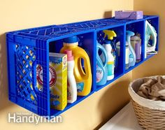 Mount plastic crates on the wall - Don't have cabinets or shelves in your tiny laundry room? Bought inexpensive plastic crates at a and created your own wall of cubbies. Just screwed them to the wall studs using a fender washer in the upper corner of each crate for extra strength. The crates hold a lot of supplies, and they keep tippy things