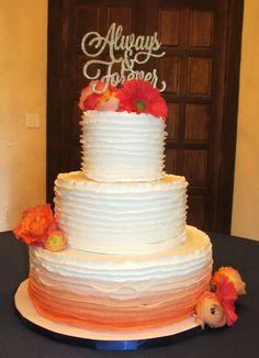 Ombre buttercream ruffles in pretty shades of coral. Coral Wedding Cakes, Buttercream Ruffles, Ruffle Cake, June, Shades, Pretty, Desserts, Food, Tailgate Desserts