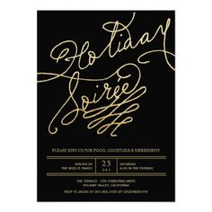 Stylish Chic Gold Glitter Script on Black Modern Holiday Party Invite | Custom Invitation by fatfatin