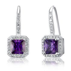 Pristine Purple Sapphire 925 Sterling Silver Dangle DESIGNER Earrings LIMITED Riviera Collection