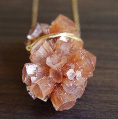 Peach Aragonite Gold Necklace    Crystal Mineral by friedasophie