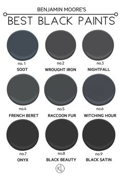The Best Black Paint Colours from Benjamin Moore. Popular shades like soot and onyx - which one is the right fit for you?! Click through to see all the paints in action!                                                                                                                                                                                 More