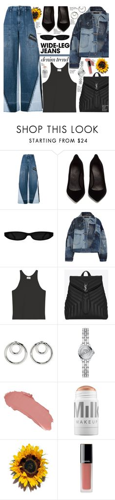 """Flare Up: Wide-Leg Jeans"" by voguefashion101 ❤ liked on Polyvore featuring Dolce&Gabbana, Maison Margiela, Acne Studios, Yves Saint Laurent, Alexander Wang, Chanel, Charlotte Tilbury and MILK MAKEUP"