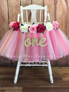 Pink and Gold High Chair Tutu Banner, Highchair Skirt for Girls First Birthday Smash Cake Party Decor, Floral Birthday Party by AvaryMaeInspirations on Etsy 1st Birthday Party For Girls, Girl Birthday Decorations, Gold Birthday, First Birthday Cakes, Baby Birthday, Birthday Chair, Birthday Ideas, Minnie Birthday, Birthday Photos