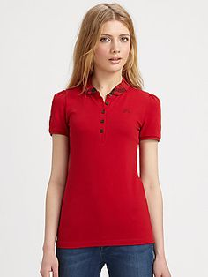 Burberry Brit Puffed Check-Collar Polo