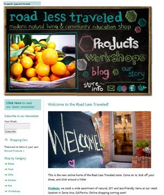 hand drawn fonts on website layout for Road Less Traveled by Hearts and Laserbeams