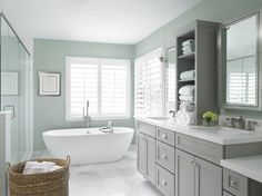 Cabinet color is Behr Fashion Gray and walls are Thibaut wallpaper T6808. Beautiful design from. Watterworth Design Studio. Transitional