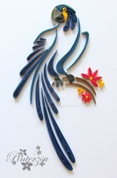 Quilled parrot by pinterzsu