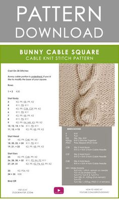How to Knit a Bunny Cable Knit Stitch Pattern – 2019 how to garden grow idea Knitting Stiches, Knitting Kits, Knitting Charts, Baby Knitting Patterns, Loom Knitting, Stitch Patterns, Knit Stitches, Free Knitting, Knitting Machine