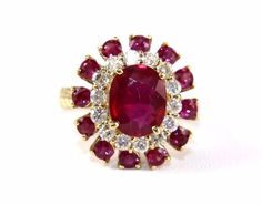 Fine Oval Cut Ruby Cockatil Ring w/Diamond Halo & Accents 14k Yellow Gold 5.01Ct #DD #SolitairewithAccents