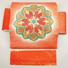 Orange, silk nagoya obi / 鹿の子絞りを重ねた上質感のある名古屋帯 http://www.rakuten.co.jp/aiyama #Kimono #Japan #aiyamamotoya