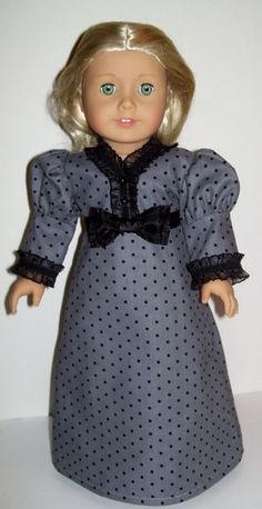 1812 Era gray dot dress for Caroline and other American Girl and similar dolls Ag Doll Clothes, Doll Clothes Patterns, Dress Patterns, Doll Patterns, Sewing Patterns, American Girl Clothes, American Dolls, Dot Dress, Beautiful Outfits