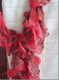 Ooooh - ruffle yarn - makes scarves easy (so it says...)