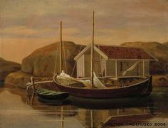 Wilhelm von Wright: Quay and Boat Shed, ca. 1850. #Ateneum Art Museum. The middle one of von Wright brothers suffered a stroke in early 1850s, which made him almost completely unable to work. Series of sixty lithographs to Skandinaviens fiskar (Fishes of Scandinavia), 1857 became his most important illustration work.