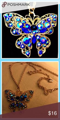 """Beautiful Butterfly Necklace NEW  Gold Butterfly adorned with rhinestones. Iridescent appearance. Gold rope chain measures 26"""" Jewelry Necklaces"""