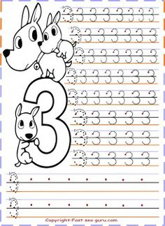 free printables kindergarten number 3 tracing worksheetstracing numbers 1 20 for kids - Preschool Tracing Pages