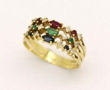 Meia Aliança Diamante, Rubi, Safira, Esmeralda e Ouro Amarelo 18k 750 (5)