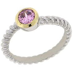 World Class Brilliance with Russian Formula Cubic Zirconia Stones Two-Tone yellow and white gold overlay Pink Tourmaline RN4479