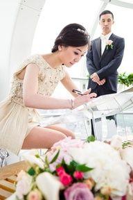 Beautiful short #wedding #dress... and gorgeous London Eye wedding photographed by Tino Photography...