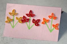 Pink handmade paper card by Quillicious. #Paper #Quilling