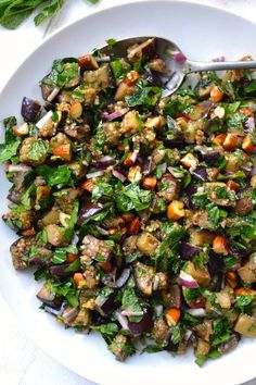 Chopped Eggplant, Almond & Herb Salad - Fitness-Salate (gesund, vegan) - Past Healthy Salads, Healthy Eating, Meal Salads, Vegan Recipes, Cooking Recipes, Paleo Vegan, Healthy Eggplant Recipes, Vegetarian Salad Recipes, Cooking Games