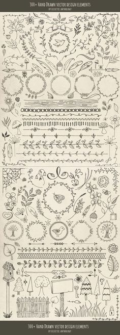 Over 300 Woodland Whimsy Hand Drawn Vector Design Elements! Flourishes, curls, corners, borders, wreaths, leaves, flowers, mushrooms, birds, bugs, hearts, stars, feathers, arrows, and so much more. Read at : diyavdiy.blogspot.com