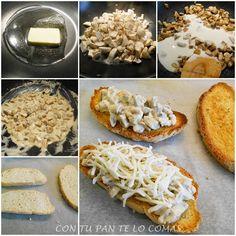 Con champiñones, nata y queso mozzarella. Fáciles y riquísimas!