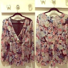 Floral Romper Glamorous from Nordstrom Floral Romper long sleeves! Adorable & flattering! Perfect for summer or fall with a light sweater or jacket! BRAND NEW, NEVER WORN!! I will consider offers made with the offer button only. No trades... Thanks for looking around my closet. I have a lot of new items!  Free People Dresses