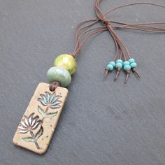 Yoga necklace lotus flower pendant artisan jewelry by BeadyDaze