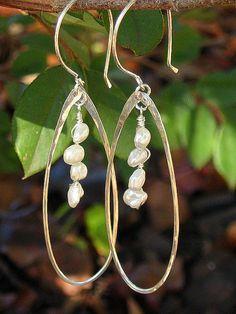 Keishi Pearl Teardrop Earrings in Sterling Silver by jujuandjules