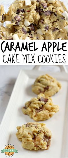 Caramel Apple Cake Mix Cookies are easily made with chopped apples and Rolo candies for a delicious flavor combination that comes together in just a few minutes. Cake Mix Cookie Recipes, Cake Mix Cookies, Best Cookie Recipes, Yummy Cookies, Apple Recipes, Chip Cookies, Cake Mix Muffins, Cake Recipes, Bacon Recipes