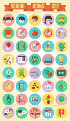 Modern Flat School Icons Set  #GraphicRiver        Set of 40 modern flat round school icons. It can illustrate different school subjects, such as:   Biology,  Chemistry,  Physics,  Maths,  Geography,  Reading,  Writing,  Computer skills,  Drafting,  Handicraft,  Physical training,  Arts,  Drama,  Music  Citizenship  History  Health Education  Science  Information and Communication Technology  Religious Education  Ecology  Also it contains some avatars of boy, girl, teachers man and woman…