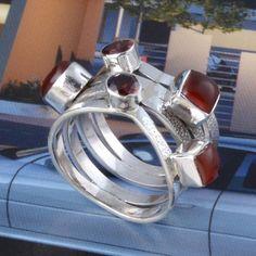 925 SOLID STERLING SILVER GARNET & RED ONYX FANCY STYLE RING 9.92g DJR3358 #Handmade #Ring