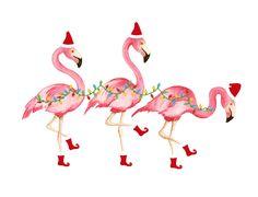 set of 10 christmas flamingo cards by shorelychic on etsy - Flamingo Christmas