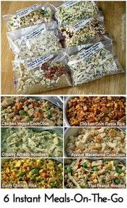 Recipes for 6 delicious just add boiling water meals that are great for hiking o. - Recipes for 6 delicious just add boiling water meals that are great for hiking or backpacking. Mason Jar Meals, Meals In A Jar, Camping Meals, Freezer Meals, Backpacking Recipes, Camping Cooking, Food For Camping, Dehydrated Backpacking Meals, Camping Dishes