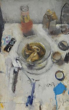 "Catherine Mulligan, ""Still Life with Wonton Soup 2"", Oil on Mylar, 16"" x 12"", 2013  http://www.thefangallery.com/content/catherine-mulligan"