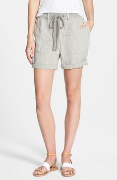 Women's James Perse 'Surplus' Cuffed Linen Shorts