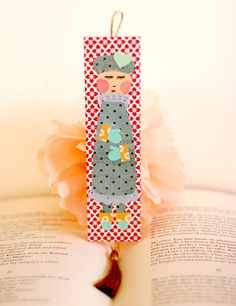 Girl Bookmark. Paper collage. by KupKupLand on Etsy, €10.00