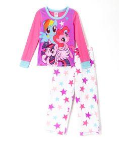 Another great find on #zulily! Pink & White My Little Pony Pajama Set - Girls #zulilyfinds