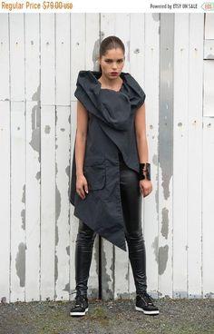 SALE Asymmetric Black Vest / Loose Top With Pocket / Wrap Tunic / Large Pocket Accent Top by METAMORPHOZA