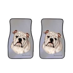 Bulldog Car Mats by Artist Tamara Burnett, click or dial 1-844-446-4DOG for bulldog car mats and gifts that donate to help feed shelter dogs in the USA.