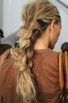 She has it just like an viking bride would have it! ...messy braid.