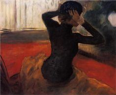 Woman Trying on a Hat - Edgar Degas