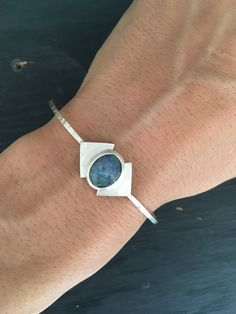 Blue Opal And Sterling Silver Cuff - One of a Kind by AURAVEDASF on Etsy