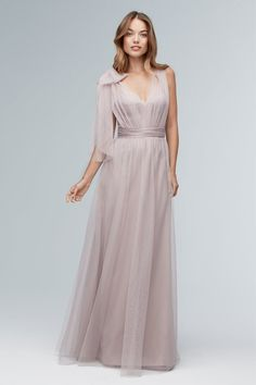 Wtoo Bridesmaid Gowns come in many intriguing styles. Rich cocoa browns, royal blues, emerald greens, and ruby red bridesmaid dresses are just the beginning. Classic Bridesmaids Dresses, Bridesmade Dresses, Dusty Blue Bridesmaid Dresses, Bridal Dresses, Prom Dresses, Bridal Reflections, Dress With Bow, Designer, Wedding Ideas