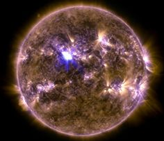 NASA's Solar Dynamics Observatory captured this image of an M6.5 class flare at 3:16 am EDT on April 11, 2013. This image shows a combination of light in wavelengths of 131 and 171 Angstroms. Image © NASA/SDO