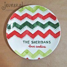 Personalized Chevron Ceramic Christmas Plate by JeurekaDesign, $37.00
